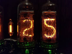"ИH-14 (IN-14) Nixie tubes displaying ""25"". The 5 is implemented with an upside-down 2."