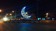 Crescent is colourfully decorated and illuminated during Ramadan in Jordan