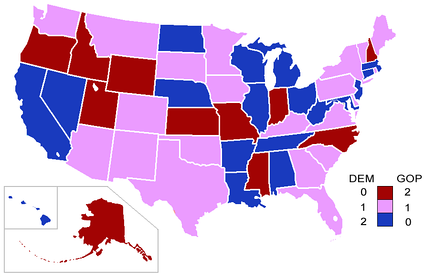 Senators' party membership by state(at the beginning of the Congress)