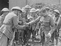 A raiding party of 11th Royal Scots preparing for action in July 1918