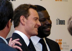 McQueen with Michael Fassbender at the premiere of 12 Years a Slave at the 2013 Toronto Film Festival