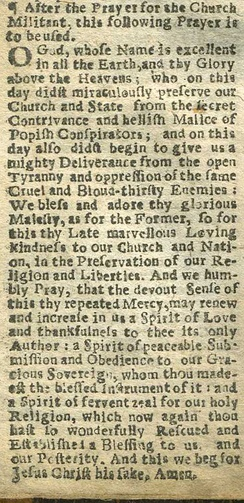 A Collect for 5 November in the Book of Common Prayer published in London in 1689, referring to the Gunpowder Plot and the arrival of William III.