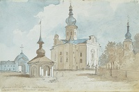 The Ascension Cathedral built in Perejaslav in 1700 by Hetman Ivan Mazepa, 1845