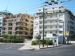Two apartment buildings in central Athens. The left one is a modernist building of the 1930s, while the right one was built in the 1950s.