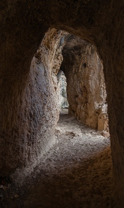 """Galería de los Espejos"" (Gallery of Mirrors), a tunneled part of a 25 km Roman aqueduct built during the 1st century AD near Albarracín (Spain)"