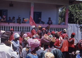 An APC political rally in the northern town of Kabala outside the home of supporters of the rival SLPP in 1968