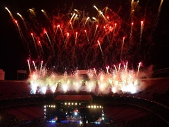 "Fireworks go off at the conclusion of the ""E! Street! Band!"" exhortation during the final shows at Giants Stadium."