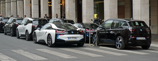 Official fleet of BMW i3s and BMW i8s on duty at the 2016 Paris ePrix, France