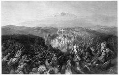 An engraving of the Battle of Ascalon by C.W. Sharpe (1881), based on an illustration by Gustave Doré (1871)