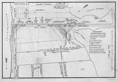 Early 19th century map depicting the battlefield at Chalmette Plantation on January 8, 1815
