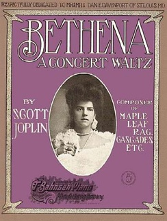 "Cover of Scott Joplin's 1905 work ""Bethena""; an unproven theory is that the woman on the cover is a wedding picture of Joplin's second wife Freddie Alexander who had passed away September 1904[10]"