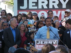 Bera at an October 2010 rally for Jerry Brown