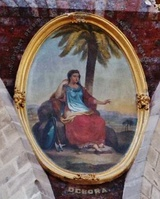 Deborah depicted in a pendentive of a church dome in Tenancingo, Mexico