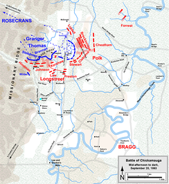 Defense of Horseshoe Ridge and Union retreat at the Battle of Chickamauga, afternoon and evening of September 20, 1863