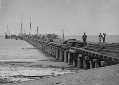 Dock built by Union troops on Hilton Head Island, April 1862