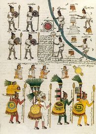 A page (folio 67), depicting indigenous Mexican warriors in the Codex Mendoza