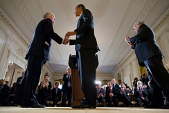 President Obama welcomes Daley (left) as the new Chief of Staff in January 2011.