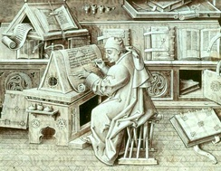 This late 15th-century miniature of Jean Miélot (died 1472)[3]  depicts the author at work writing his compilation of the Miracles of Our Lady, one of his many popular works.