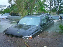 Flooding near Key West, Florida, United States from Hurricane Wilma's storm surge in October 2005.