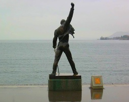 The statue of Freddie Mercury overlooking Lake Geneva in Montreux, Switzerland, which is featured on the cover of the album.