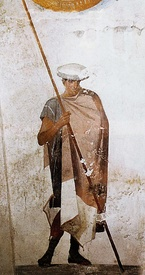 Left, a fresco of a Macedonian soldier resting a spear and wearing a cap, from the tomb of Agios Athanasios, Thessaloniki, 4th century BC. Right, fresco from the Tomb of Judgement in ancient Mieza (modern-day Lefkadia), Imathia, Central Macedonia, Greece, depicting religious imagery of the afterlife, 4th century BC.