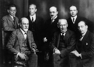 The Committee in 1922 (from left to right): Otto Rank, Sigmund Freud, Karl Abraham, Max Eitingon, Sándor Ferenczi, Ernest Jones, and Hanns Sachs