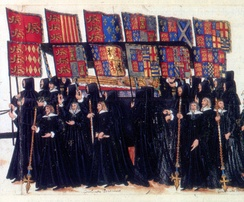 At her funeral, the bier of Elizabeth I is accompanied by the banners of her royal ancestors, each banner being impaled: Henry II and Eleanor of Aquitaine, John and Isabella of Angoulême, Henry III and Eleanor of Provence, Edward I of England and Eleanor of Castile, Edward II of England and Isabella of France, Edward III of England and Philippa of Hainault, Edmund of Langley, 1st Duke of York and Isabella of Castile, Richard of Conisburgh and Anne de Mortimer, Richard duke of York and Cecily Neville, Duchess of York, Edward IV of England and Elizabeth Woodville, Henry VII and Elizabeth of York, Henry VIII and Anne Boleyn.[38]