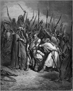 "Gustave Doré, The Death of Agag. ""Agag"" may have been the hereditary name of the Amalekite kings. The one depicted was killed by Samuel (1 Samuel 15)."