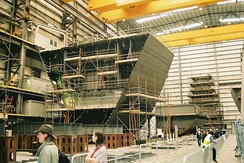 Construction of prefabricated module blocks of Type 45 destroyer, HMS Dauntless, at BAE's Portsmouth Shipbuilding hall.