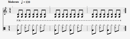 An example of a rhythmic pattern used in heavy metal. The upper stave is a palm-muted rhythm guitar part. The lower stave is the drum part. Rhythmic Pattern Audio