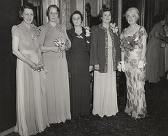 White (second from left) with AAUW officers