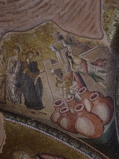Mosaic depicting the wedding feast in Cana