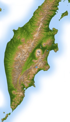 Topography of the Kamchatka Peninsula