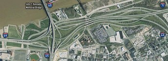 "Overhead view of the Kennedy Interchange (""Spaghetti Junction"") before the ongoing reconstruction as part of the Ohio River Bridges Project."