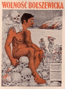 """Bolshevik freedom"" – Polish anti-communist propaganda poster with nude caricature of Leon Trotsky"