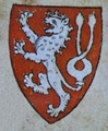 Lesser Royal Arms of BohemiaRight: Colored coat of arms of Bohemia depicted in the Passional of Abbes Kunigunde (1310s)