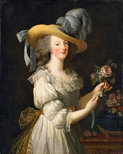 "Marie Antoinette en chemise, portrait of the queen in a ""muslin"" dress (by Louise Élisabeth Vigée Le Brun, 1783). This controversial portrait was considered by her critics to show improperly informal attire for a queen,[61] whereas a similar portrait in formal dress did not create controversy."