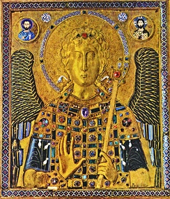 10th-century gold and enamel Byzantine icon of St Michael, in the treasury of the St Mark's Basilica
