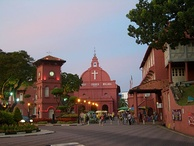 The Dutch Square in Malacca, with Christ Church (centre) and the Stadthuys (right)