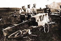The remains of an Austro-Hungarian Albatros, the first enemy aeroplane destroyed in flight in the history of military aviation
