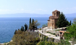 The 13th-century church of St. John at Kaneo and the Ohrid Lake in North Macedonia. The lake and town were declared a World Heritage Site by UNESCO in 1980.