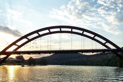 The Pennybacker Bridge is the signature element of Loop 360 in the Texas Hill Country.