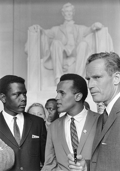 Poitier (left) at the 1963 March on Washington, alongside actors Harry Belafonte and Charlton Heston