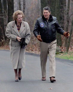 President Ronald Reagan and Margaret Thatcher at Camp David in 1986.