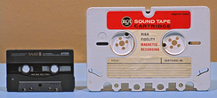 Size comparison of RCA tape cartridge (right) with the more common Compact Cassette