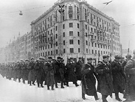 December 1941. Fresh forces going to the front from Moscow.