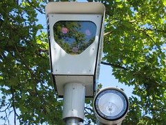 A red light camera in use in Beaverton, Oregon, US
