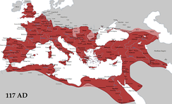 The Roman Empire in AD 117, at its greatest extent (with its vassals in pink).