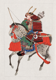 A mounted samurai with bow and arrows, wearing a horned helmet. Circa 1878.