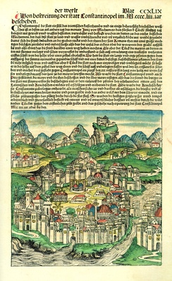 Page depicting Constantinople in the Nuremberg Chronicle published in 1493, forty years after the city's fall to the Muslims.